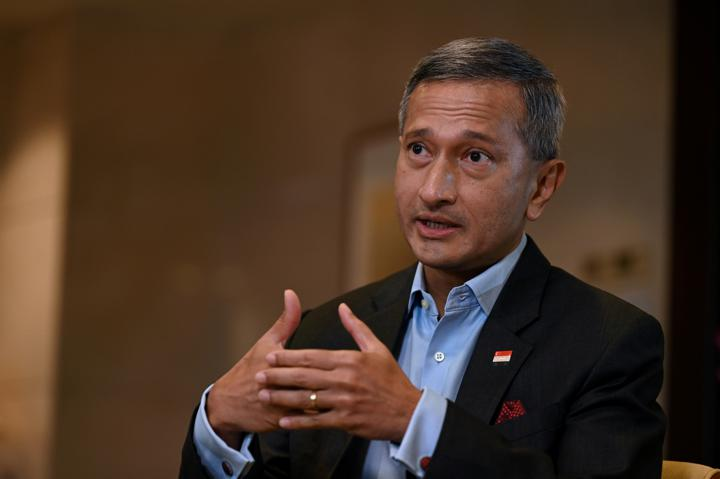 Singapore's Foreign Minister Vivian Balakrishnan speaks during an interview at the Ministry of Foreign Affairs in Singapore August 20, 2021. REUTERS/Caroline Chia