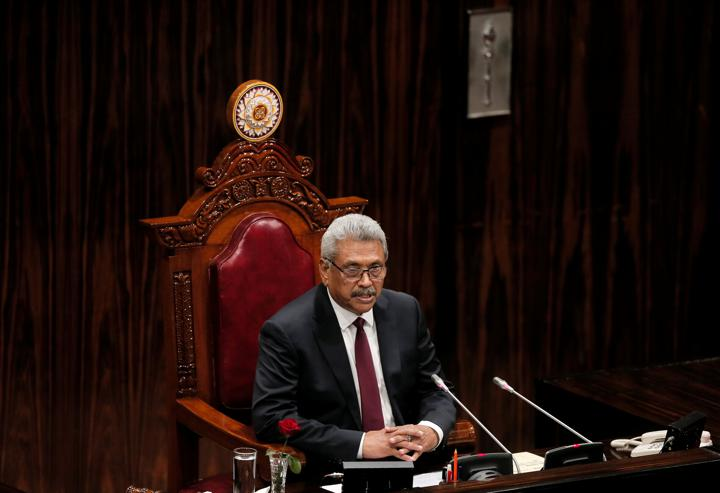 FILE PHOTO: Sri Lanka's President Gotabaya Rajapaksa presents the new government's policy statement during the inaugural session of the new Parliament in Colombo, Sri Lanka, August 20, 2020. REUTERS/Dinuka Liyanawatte