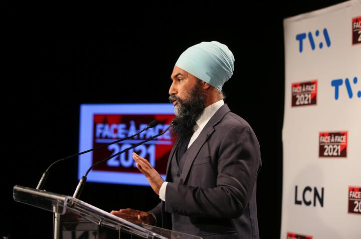 FILE PHOTO: New Democratic Party (NDP) leader Jagmeet Singh speaks to the news media after a French language election debate at TVA studios in Montreal, Quebec, Canada September 2, 2021. REUTERS/Christinne Muschi