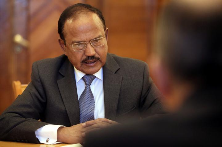 FILE PHOTO: India's National Security Advisor Ajit Doval speaks during a meeting with Russian Foreign Minister Sergei Lavrov in Moscow, Russia May 10, 2018. Maxim Shipenkov/Pool via REUTERS