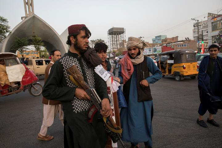 FILE PHOTO: Taliban soldiers are seen in a street in Herat, Afghanistan September 10, 2021. WANA (West Asia News Agency) via REUTERS