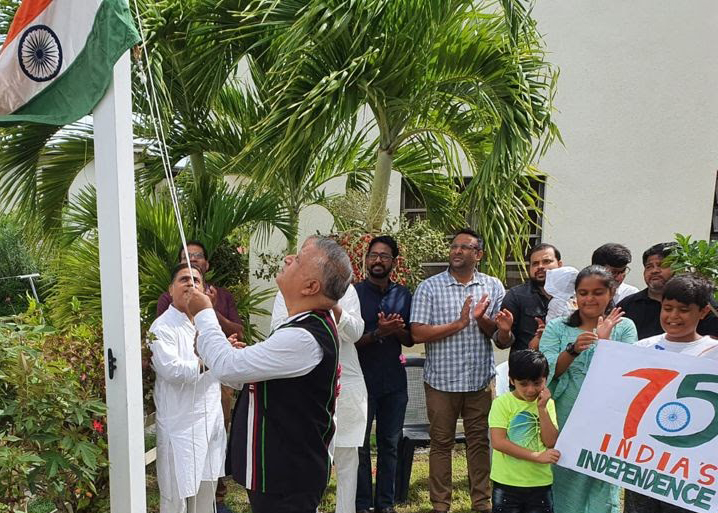 Vijay Tewani, The Honorary Consul Of India in Antigua, hoisting the tricolor on Indian independence day