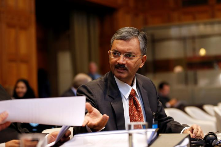 FILE PHOTO: Deepak Mittal, joint secretary of Indian Ministry of External Affairs, is seen at the International Court of Justice during the final hearing of the Kulbhushan Jadhav case in The Hague, the Netherlands, February 18, 2019. REUTERS/Eva Plevier