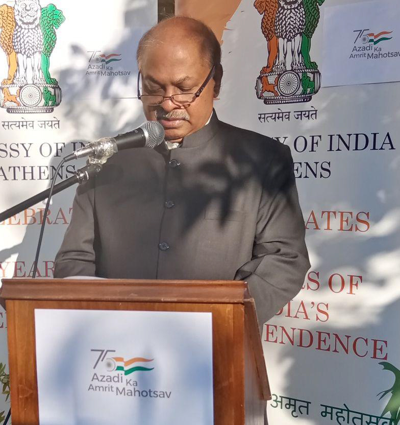 Ambassador Amrit Lugun celebrates Indian Independence Day in Athe