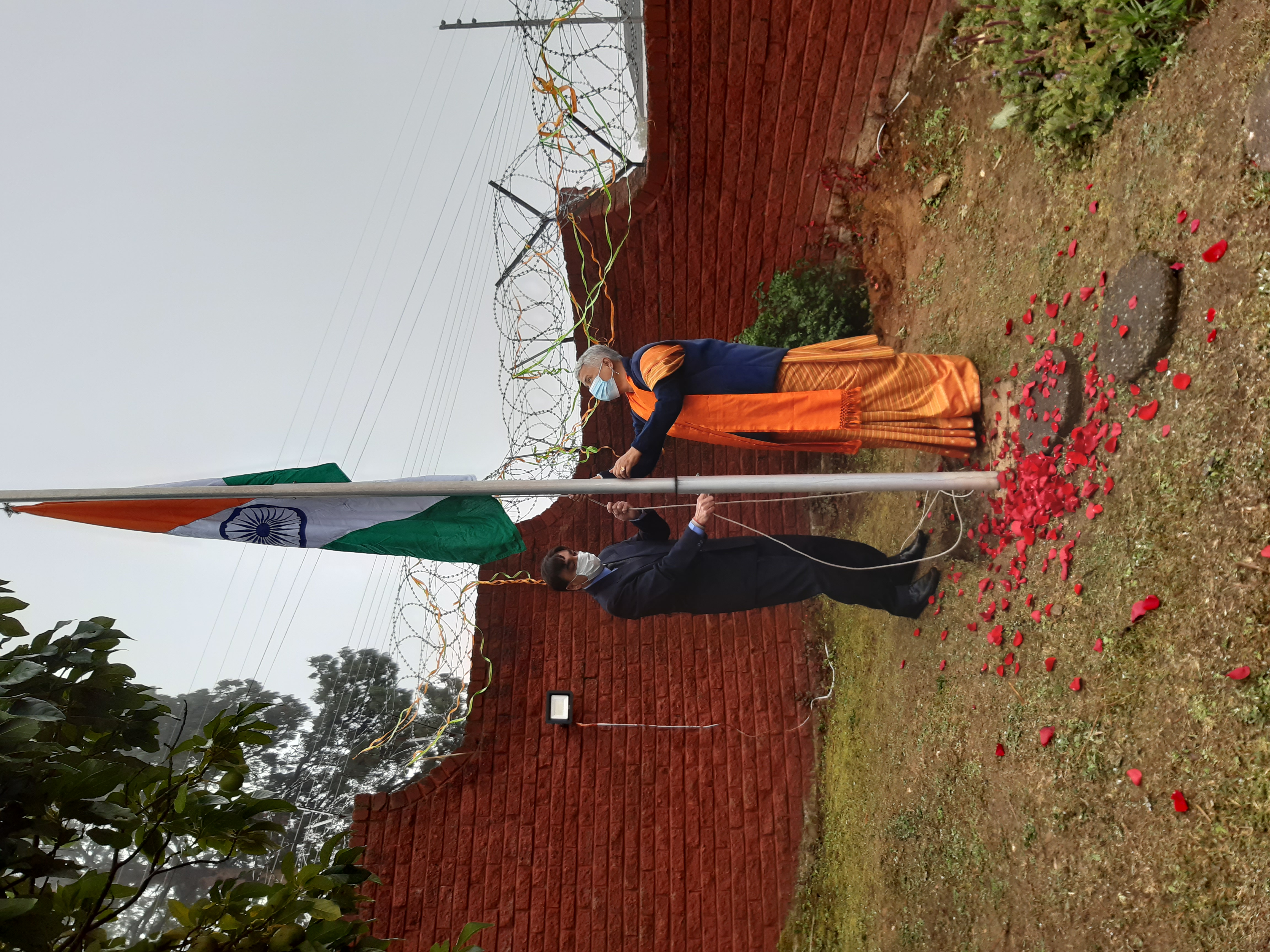 The High Commissioner of India Radha Venkataraman hoisting the Indian Flag on the Independence day event