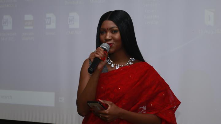 Eswatini artist Mandisa Mamba singing Hindi song 'Teri Mitti' at the Independence day celebration event in Mbabane