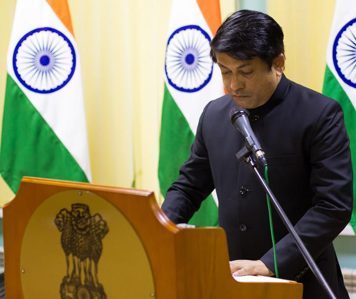 The Indian Ambassador in Minsk, Alok Ranjan Jha addressing the gathering on the occasion of Indian Independence Day at the Indian Embassy in Minsk, Belarus