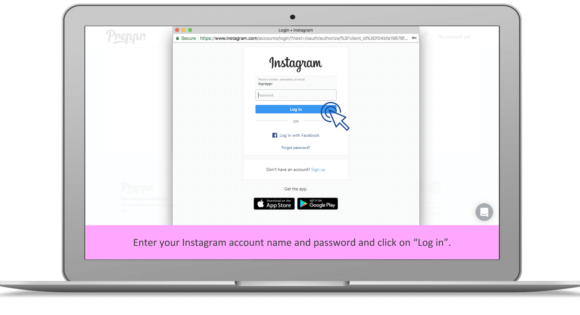 Connect with your Instagram account - Preppr