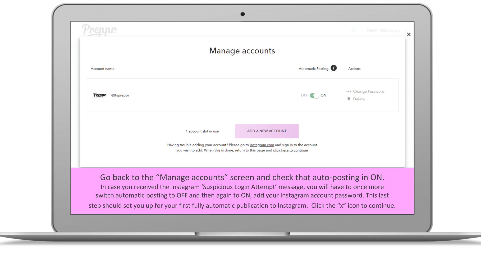 Go back to manage accounts - Preppr