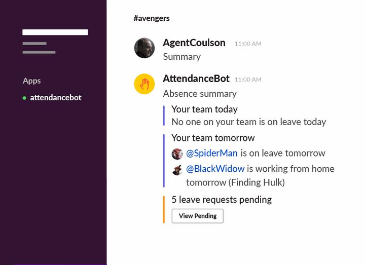AttendanceBot for Slack (remote teams)