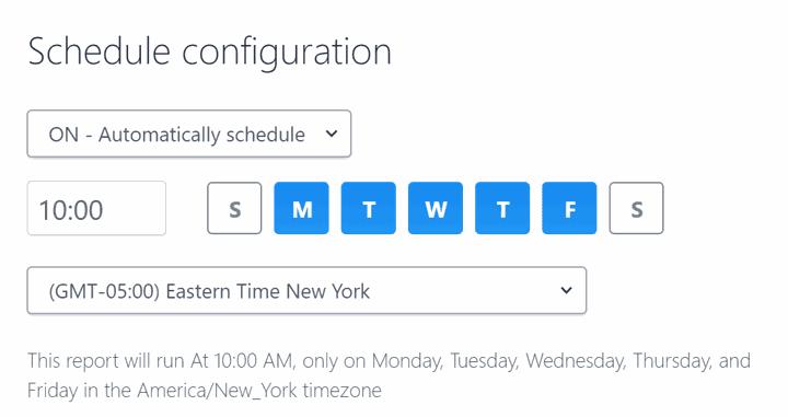 Configure schedule