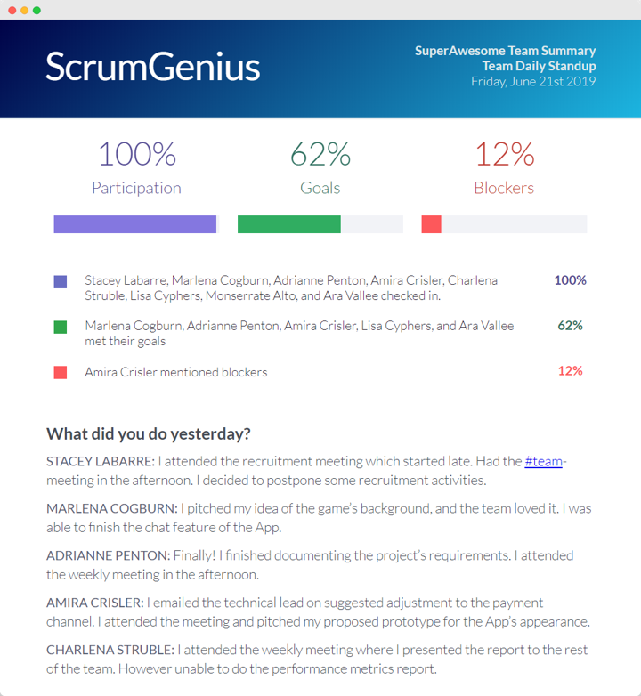 ScrumGenius Getting Started Guide Part 2 -- Email Summary Report