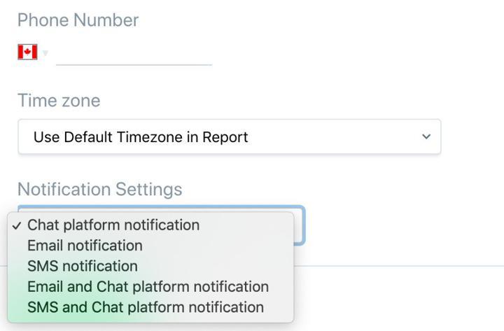 Choose notification methods on ScrumGenius
