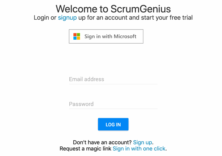 ScrumGenius November Product Updates - microsoft sso