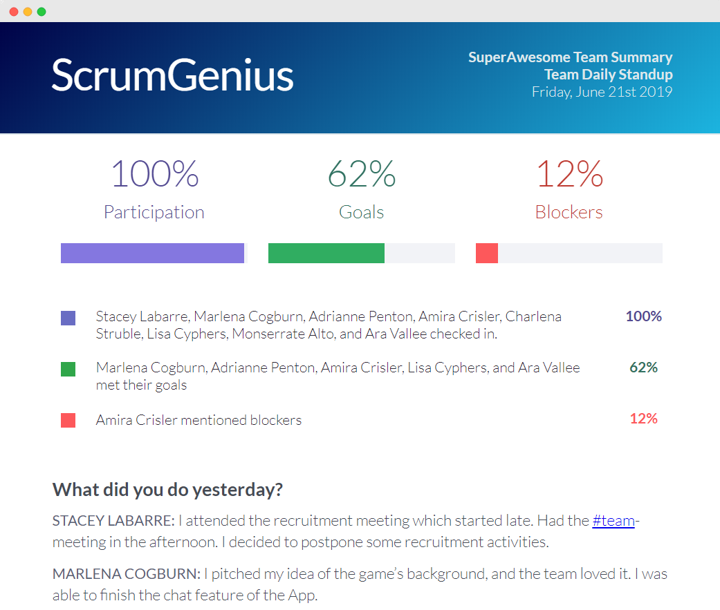 ScrumGenius report summary email