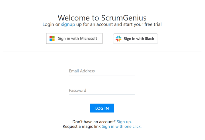 ScrumGenius November Product Updates - slack sso