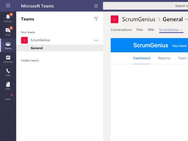 ScrumGenius App inside Microsoft Teams tab