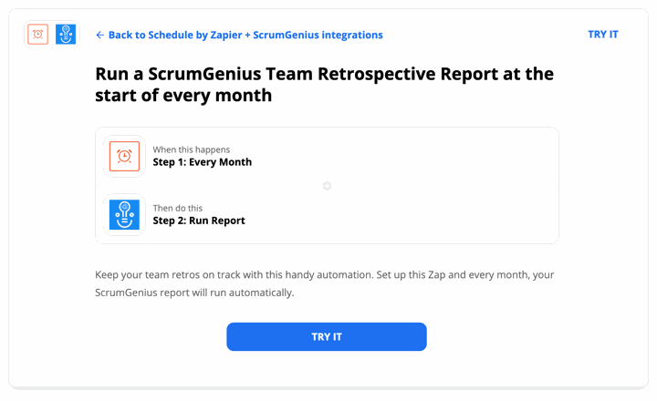 Run a ScrumGenius Team Retrospective Report at the start of every month
