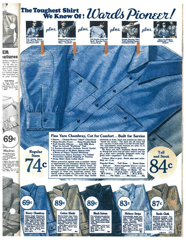 1935 advertisement for blue-collar worker shirt