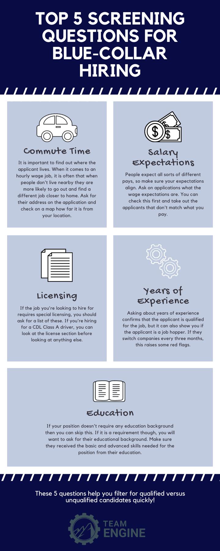 Blue-Collar application screening questions