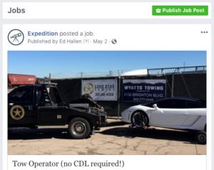 Facebook job post ad