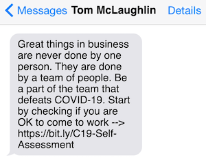 A text message from Tom about A&A COVID-19 diagram