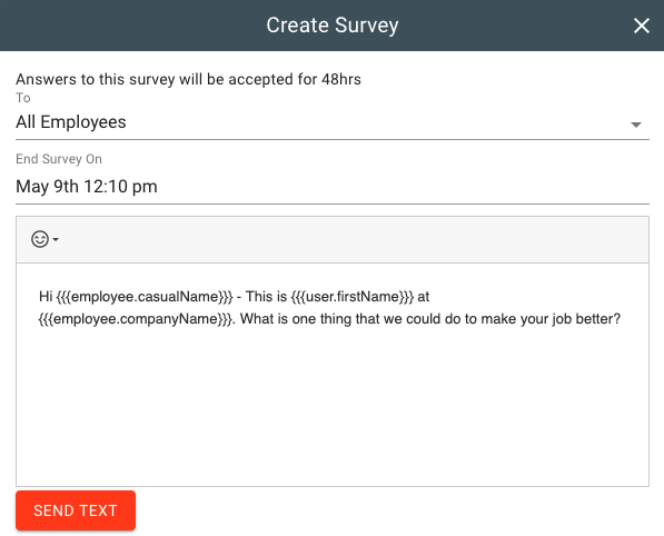 Creating a survey in the hiring engine