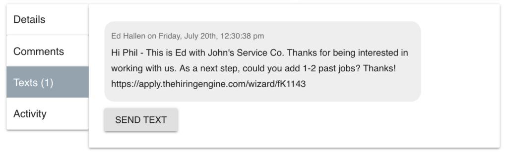 Hiring Engine SMS