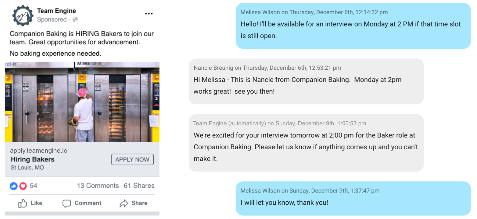 Hiring Automation through sponsored ads and texting