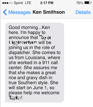 Ken's announcement for a new hire