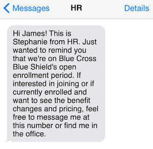 HR text message about health insurance open enrollment