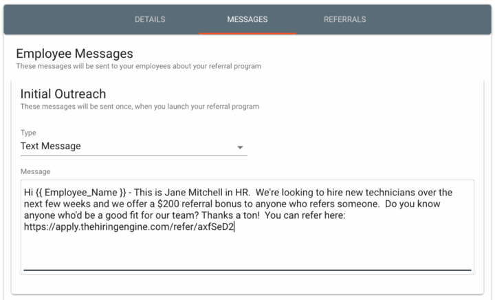 Employee referral outreach