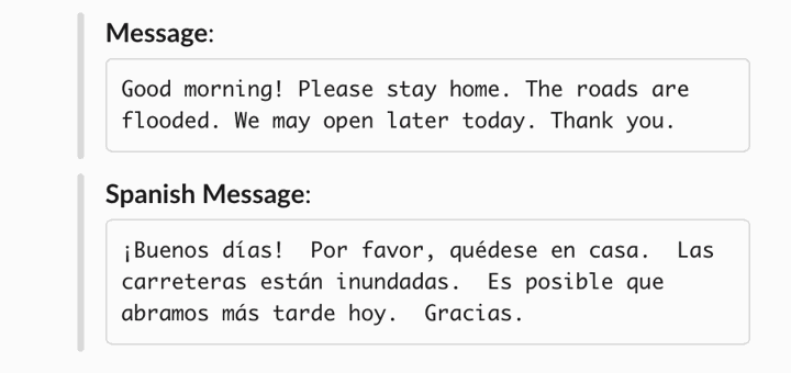 safety text message about flood from HR department