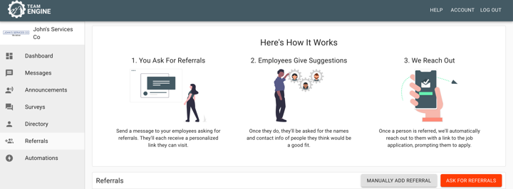 automated employee referral directions