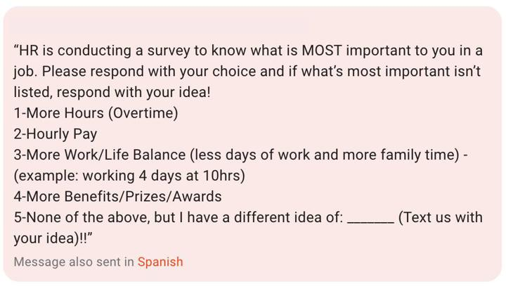 Employee Survey - What's Most Important to You at Work?