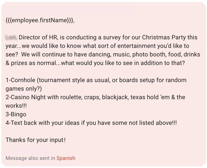 Employee Surveys - Christmas Party
