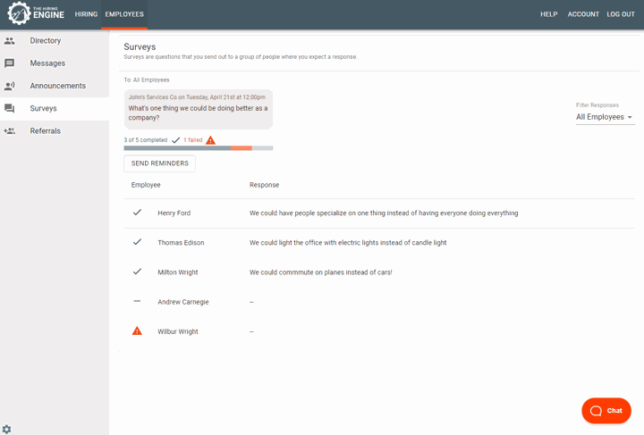 Survey Details in The Hiring Engine