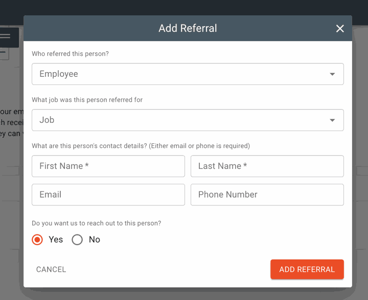 manually adding in employee referral