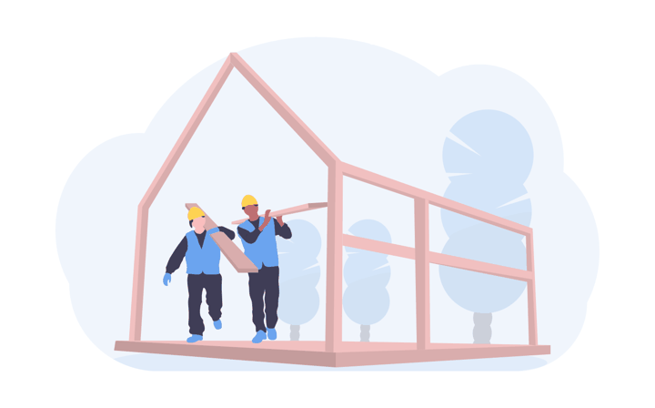 two construction workers working on-site