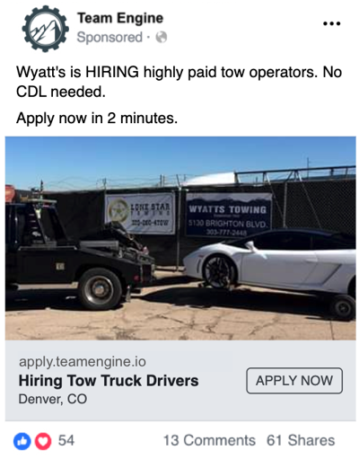 Wyatts Towing hires with Team Engine