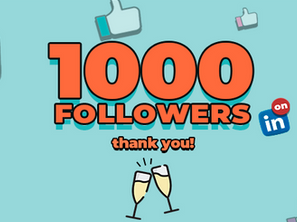 1000 followers in big letter, champagne glasses cheering