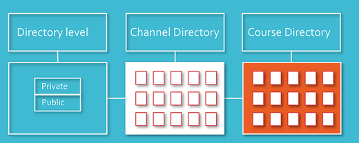 Directory Level, Channel Directory, and Course Directory work with private and public.
