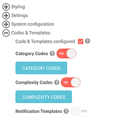 Language settings and category options in uQualio software