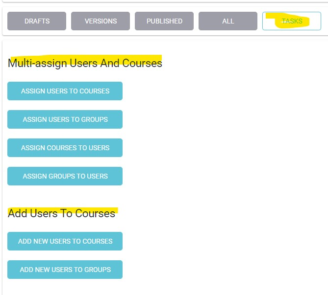 Course Lists and Group Lists are used according to your need for either creating new groups based on existing courses or to reuse existing groups visual