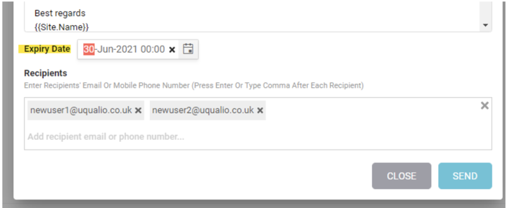 Example showing Invite expire date