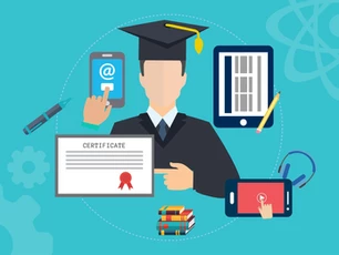 Graduate with pen, certificate, smartphones and tablet.