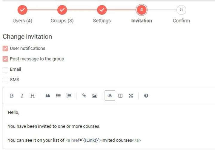 User invitation and channels example