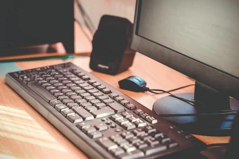 Desk with computer setup