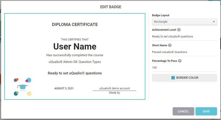 Edit badge option visual