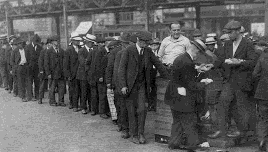 People standing in line during the Great Depression  (black & white)